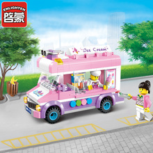 Ice Cream Car Assembled Models Building Blocks City Series Educational Toys For Children And Boys Toy Gifts  Plastic Hot enlighten new 213pcs 1112 city ice cream truck building blocks kids educational mobile ice cart bricks mini toys for children