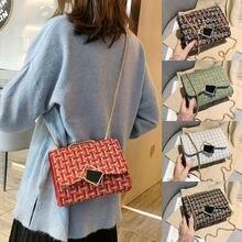 New Fashion Women Bag Small Handbag Chain Shoulder Bag Plaid Print Tote Satchel Lades Retro Messenger Cross Body Storage Bag calico print tote bag