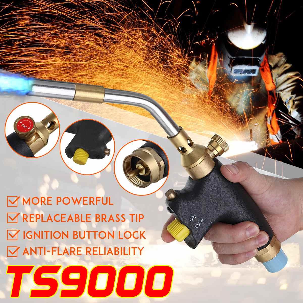 Braze Welding Torch MAPP Propane Gas Torch Piezo Trigger Ignition Copper Aluminum Heating Solder Burner TS9000