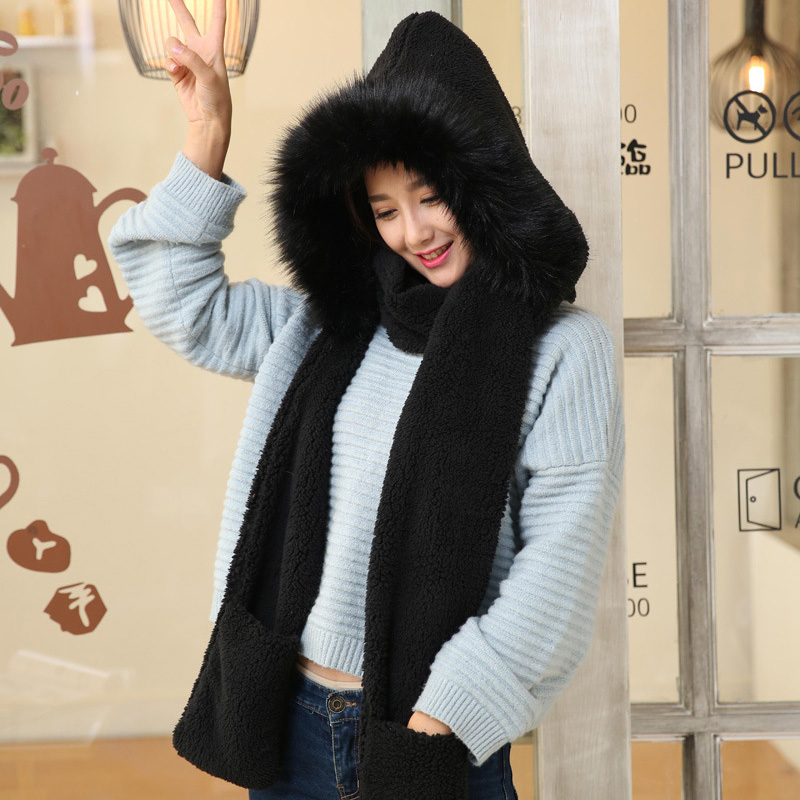 Cute Plush Hooded Scarf Hat Pocket Gloves 3 In 1 Warm For Women Winter Outdoor NYZ Shop