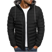 Lightweight Warm Winter Parkas Mens Striped Solid Zipper Pocket Trench Cotton Hoody Parkas Male 2020 clothing