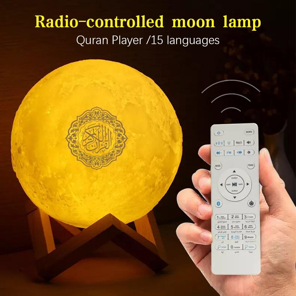 Коран Луна Лампа Динамик Мусульманский Ночник Bluetooth Беспроводной Коран Динамик 3D Луна Пульт Дистанционного Коран Динамик Свет Коран Сенсор...