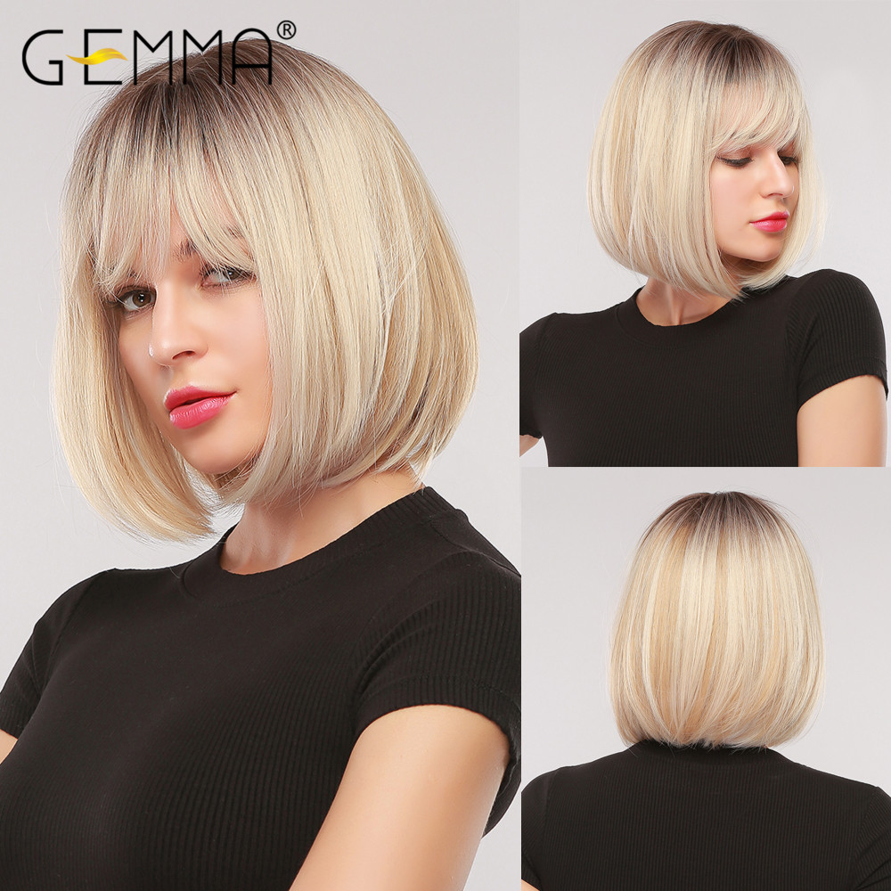 GEMMA Short Straight Bob Synthetic Wigs with Bangs for Women Afro Ombre Black Brown Yellow Blonde Wigs Cosplay Party Daily Hair