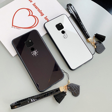 For Huawei Mate 40 30 20 Pro 20x Case Stars Moon Pattern Hard Glass Cover For Huawei Mate 30 9 10 Pro 40 pro 20 lite Give Strap