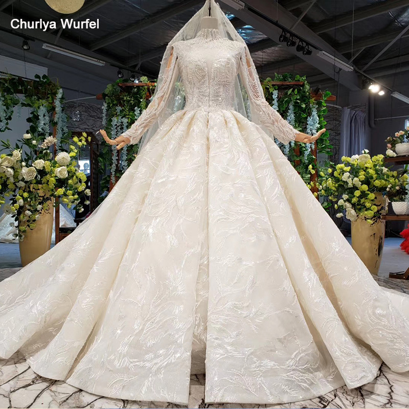 HTL894 Plus Size Wedding Dress Boho Long Sleeve Heavy Handmade Bead Wedding Gowns High Neck Collar Chain Vestidos De Noiva 11.11
