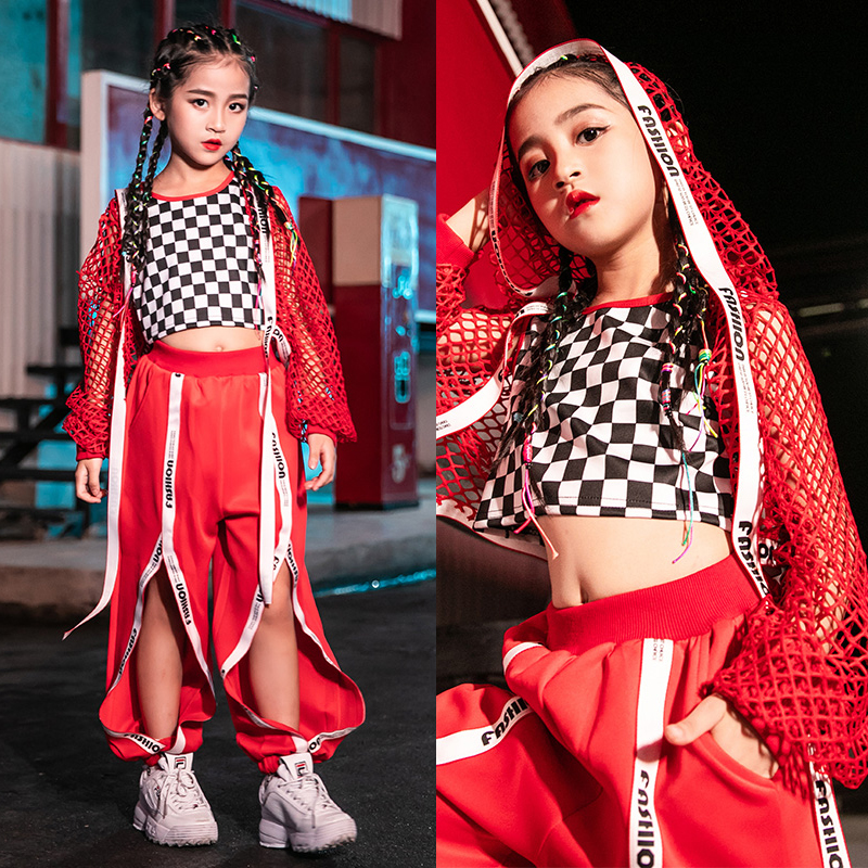 Girls Jazz Dance Costumes Children Hip Hop Clothing Red Suit Street Dance Navel Sets Tide Clothes Show Dance Outfits DQS2891