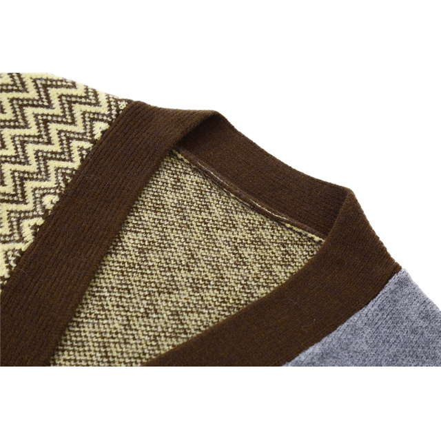 Vintage Knitted Cardigan Sweater Women Patchwork Denim Coat V Neck Long Sleeve Knitwear Casual Loose Outwear Female Tops 3