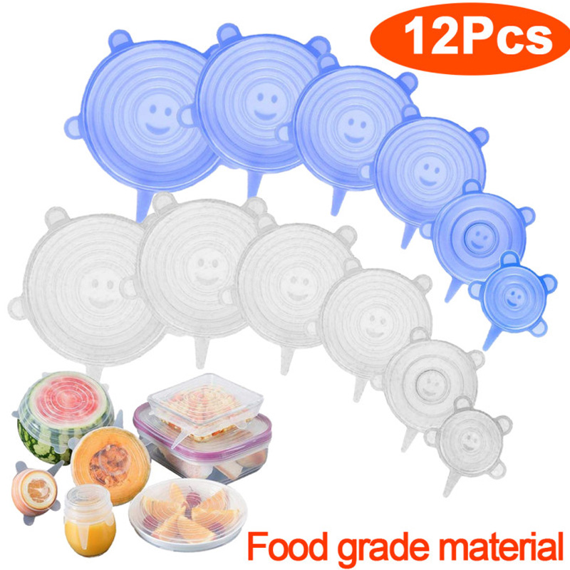 3/6/12 Pcs Food Silicone Cover Cap Universal Silicone Lids for Cookware Bowl Microwave Reusable Stretch Lids Food Wrap