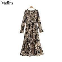 Vadim ผู้หญิง Star เสือดาวพิมพ์พิมพ์สัตว์รูปแบบแขนยาว sashes หญิงแฟชั่นเข่ายาว vestidos QD091