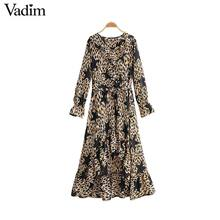 Vadim women star leopard print dress animal pattern long sleeve sashes female fashion casual knee length dresses vestidos QD091