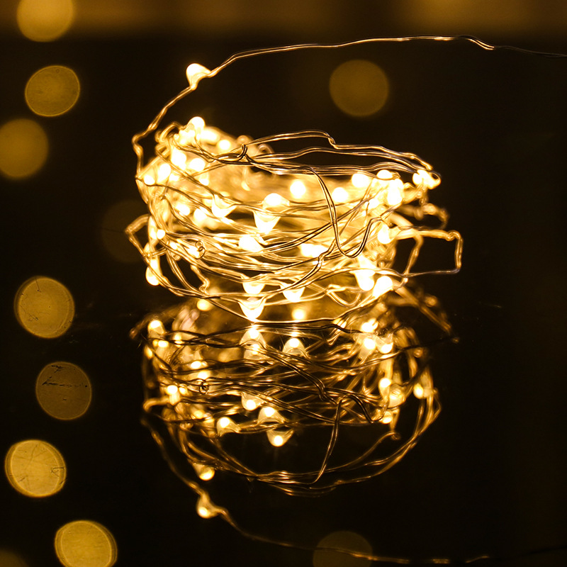 10/20/30/40/50/60 Leds String Lights Silver Wire Battery Powered Fairy Lights Garland Home Christmas Party Decoration Lamps
