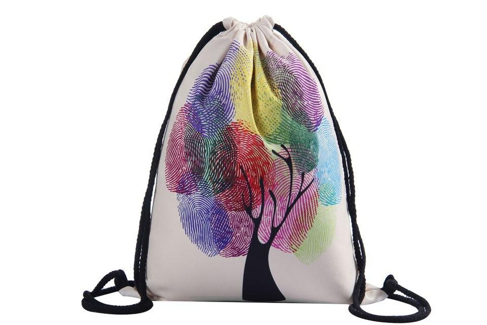 2019 Fingerprint Tree Bundle 3D Printing Colorful Tree Woman Drawstring Bag Fullprinting Girls Drawstring Backpack