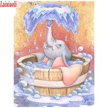 Mosaico de diamante pintura ponto cruz strass Completo bordado Banho Dumbo elefante Diy praça broca Redonda decoração Do Banheiro arte
