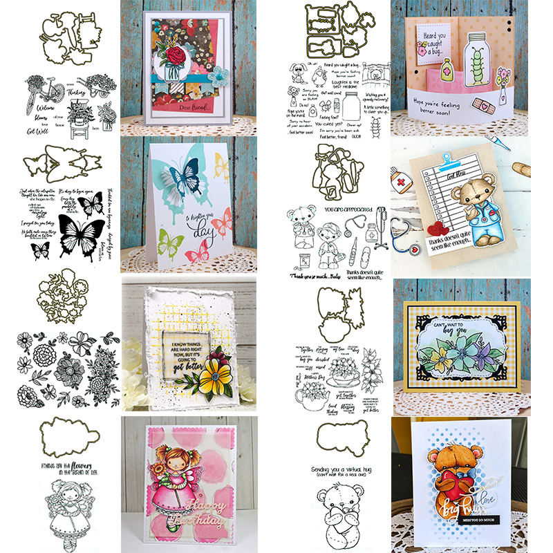 Bouquet Birds Butterfly Animals Scene Silhouettes Blessing Phrases Stamps Cutting Dies For DIY Scrapbooking Craft Cards 2020 New