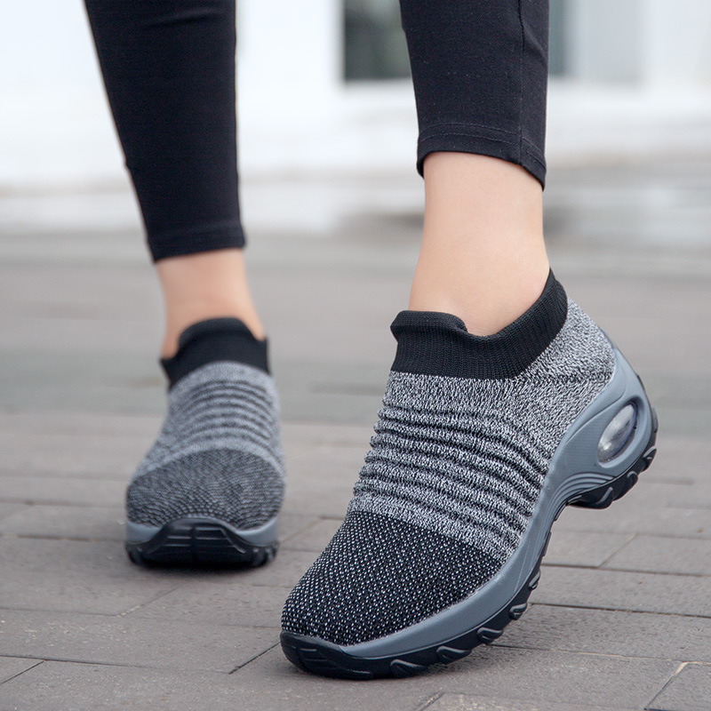 Sneakers women running shoes 2020 new fashion breathable mesh slip on women shoes wedges casual sport shoes woman sneakers Running Shoes     - title=