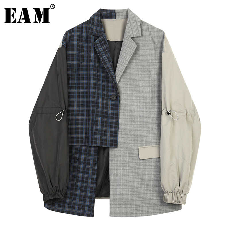 [EAM]  Women Blue Plaid Asymmetrical Big Size Blazer New Lapel Long Sleeve Loose Fit Jacket Fashion Spring Autumn 2019 1B4690