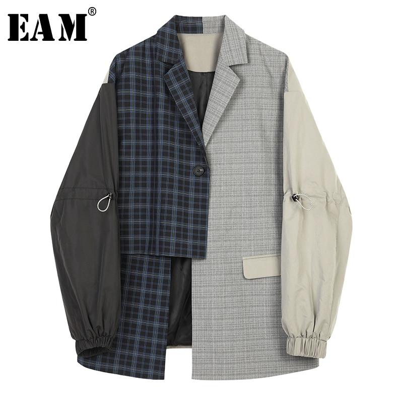 [EAM]  Women Blue Plaid Asymmetrical Big Size Blazer New Lapel Long Sleeve Loose Fit Jacket Fashion Spring Autumn 2020 1B4690