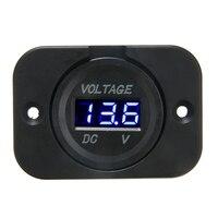 1 stücke DC 12 V 24 V Blau LED Digital Voltmeter Panel Auto Motorrad Spannung Meter Display Elektrische Spannung meter Volt Tester-in Voltmeter aus Kraftfahrzeuge und Motorräder bei