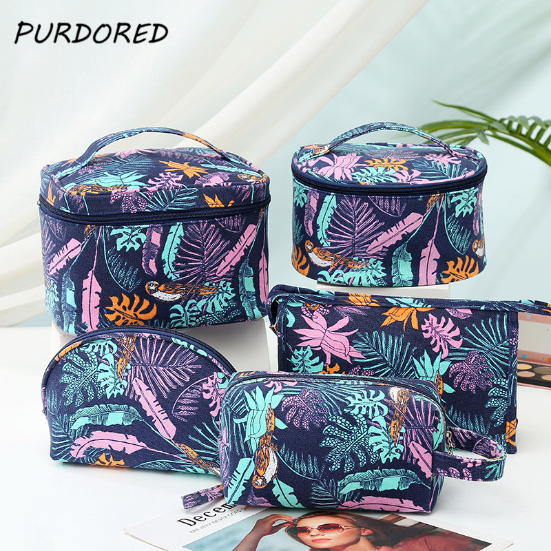 PURDORED 1 Pc Purple Leaf Big Cosmetic Bag For Women Canvas Ladies Makeup Storage Bag Travel Makeup Beauty Organizer Kosmetyczka