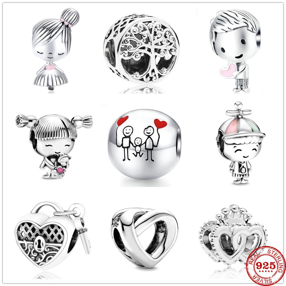2020 New boy and girl forever family tree lock heart Beads fit Original Pandora Charms Silver 925 Bracelet DIY Women Jewelry(China)