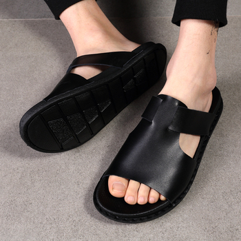 Casual Slippers Men Slippers Sandals Shoes Men Summer Flip Flops Beach Sandals 38-45 Men Shoes Leather Sandalias Black White % summer men shoes black men half slippers high quality men leather casual shoes loafers flip flops lightweight flats sandals