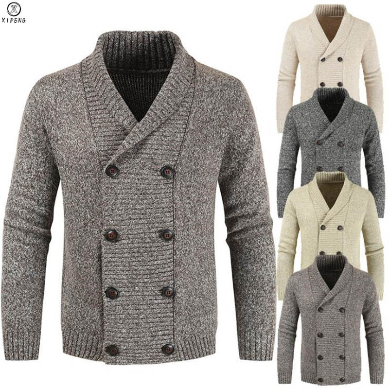 Men Cardigan Sweater 2019 Autumn Winter New Mens Long-sleeved Sweater Lapel Cardigan Double Breasted Knit Sweater Coat Tide Warm