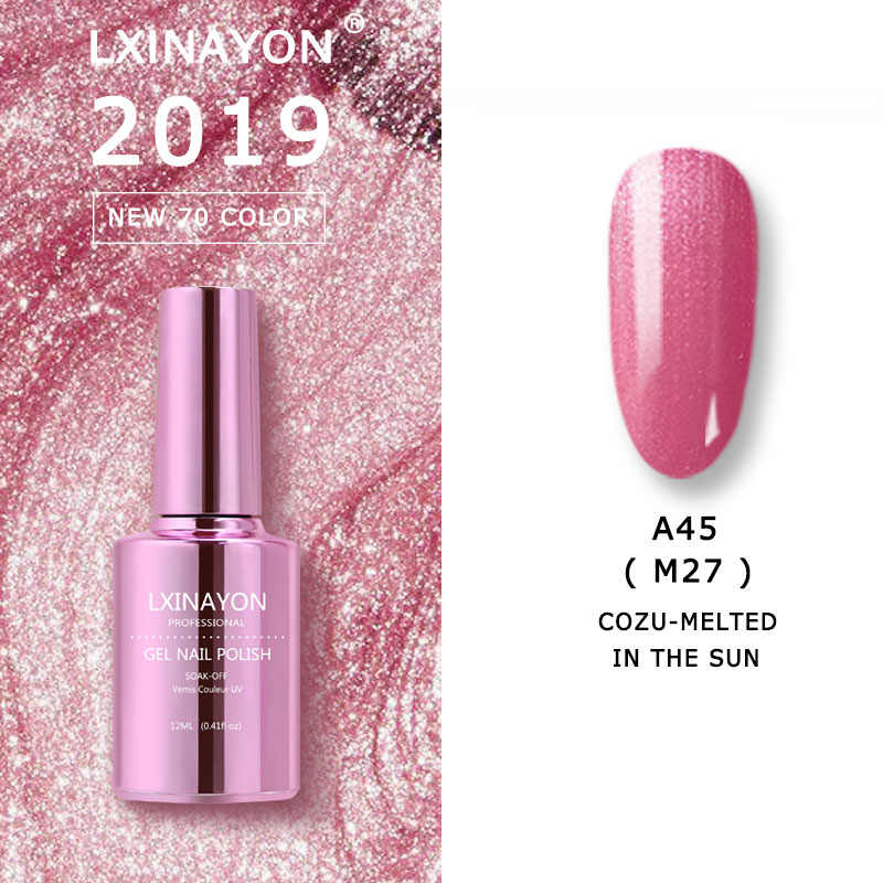LXINAYON esmalte de unha gel, verniz semi permanente embebido, esmalte de unha para design de arte, esmalte de unha de manicure LED UV, esmalte