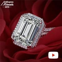 10*14mm 7 carat emerald cut Diamond Ring 6.18 Sale S925 sterling silver fine wedding proposal anniversary yes i do engagement