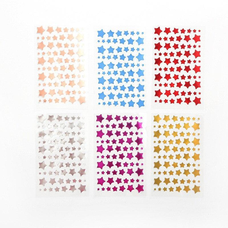 6 Sheet/set Children Reward Stickers Five-pointed Star Gold Foil Pvc Sticker Scrapbooking for Gift Decoration Stationery Sticker