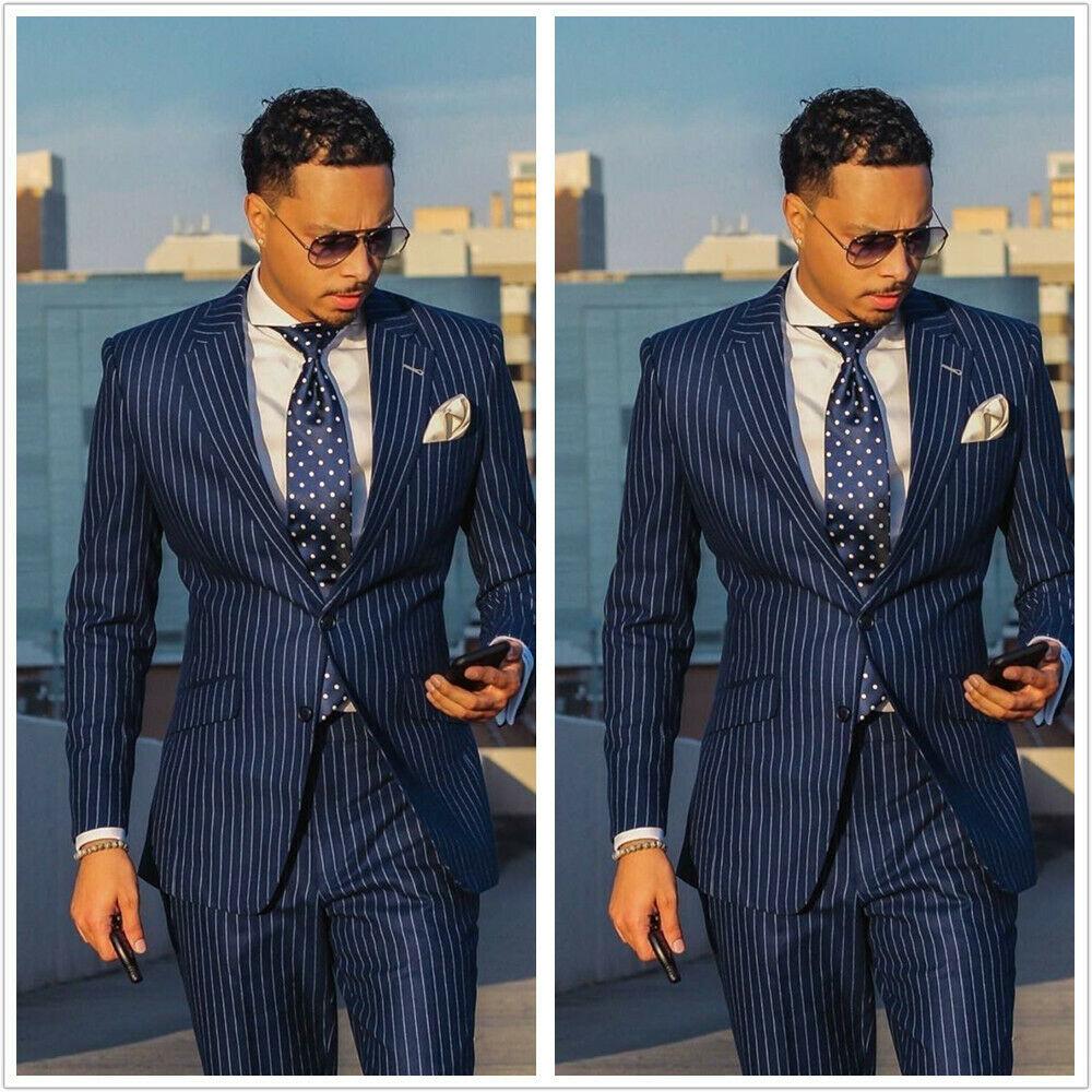 Hot Sale Blue Striped Suit Men Set Slim Fit Custom Made Wedding Suits For Men 2 Piece Blazer Groom Prom Tuxedo Jacket+Pants