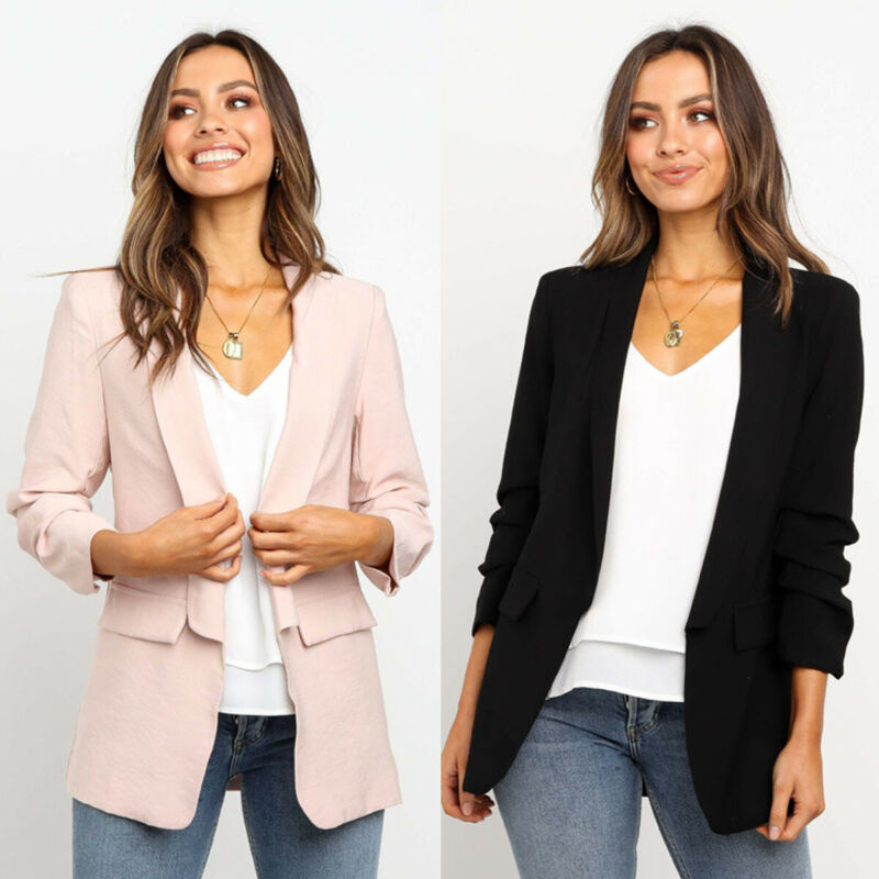 Ladies Blazer Women Slim Fit Waterfall Cardigan Long Sleeve Office Blazer Coat Jacket Tops Loose Casual Female Outerwear Suits