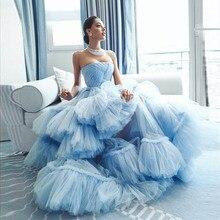Женское вечернее платье без бретелек, синее бальное платье с оборками из тюля, бальное платье для выпускного вечера