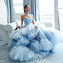 Fashion Couture Baby Blue Prom Gown Strapless Ruffled Puffy Tulle Evening Formal Dress Celebrity Pag