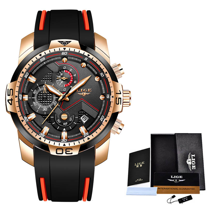 2020 LIGE Sport Watch Men Top Brand Luxury Chronograph Silicone Strap Quartz Mens Watches Waterproof Clock Relogio Masculino+Box 5
