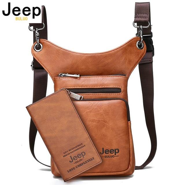 JEEP BULUO Multi function Men Bags Small Crossbody Shoulder Bag Split Leather Fashion Leg waist bag Totes New Young Male Mini