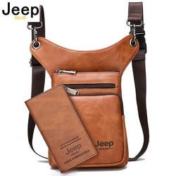 Jeep buluo multi-função masculino sacos pequenos crossbody bolsa de ombro divisão couro moda perna cintura saco totes novo jovem masculino mini