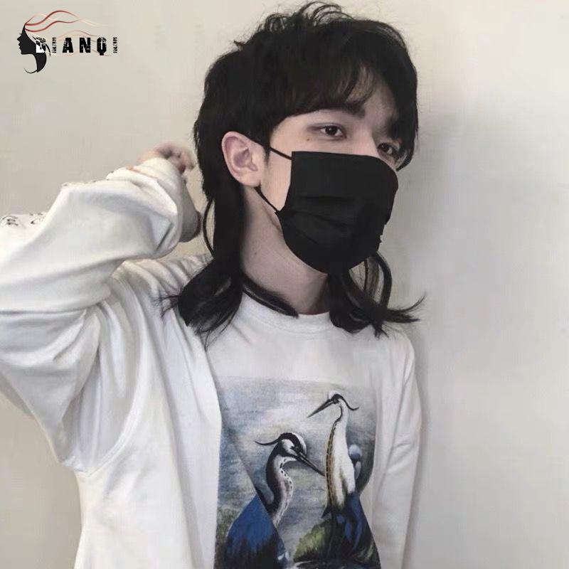 Dianqi sintético curto em linha reta parte do meio cabelo para menino festa preto resistente ao calor falso cabelo mullet tipo cabeça de peixe perucas