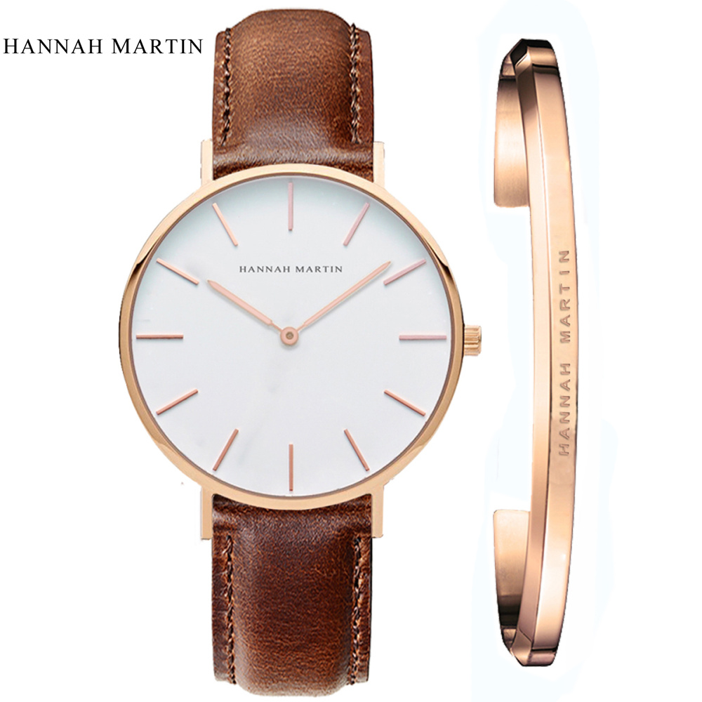 Women Watches HANNAH MARTIN Classical Relogio Feminino 2019 White Women Ladies Brand Fashion Casual Quartz Leather Nylon Watches