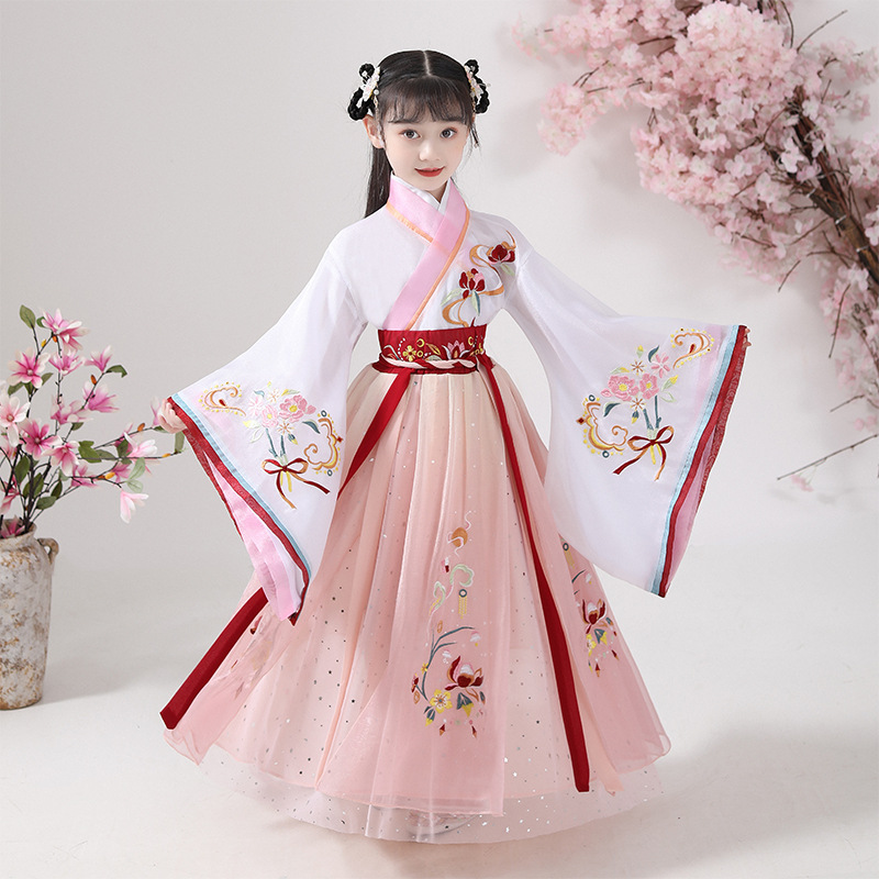 Children Hanfu Chinese Ancient Perform Folk Costume Girls Dance Wear Kids Fairy Cosplay Clothes Oriental Ancient Prince Suit