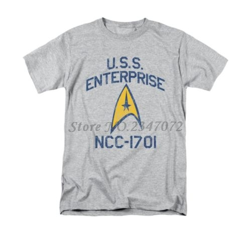 Uss Enterprise <font><b>Ncc</b></font>-<font><b>1701</b></font> Licensed Men Brand Shirt Cotton Male Tee Shirt Summer Fashion Clothes Father Gift Xmas Present image