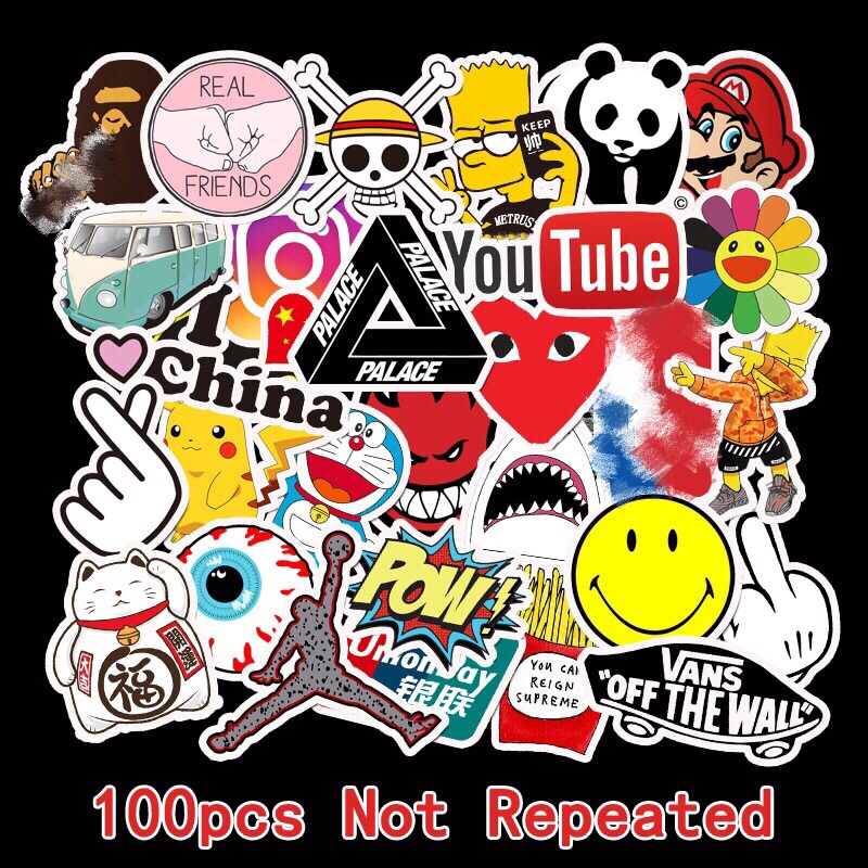 100Pcs Tide Brand Sticker Doodle Tide Brand Luggage Sticker Guitar Skateboard Battery Car Sticker Waterproof Travel Case Laptop