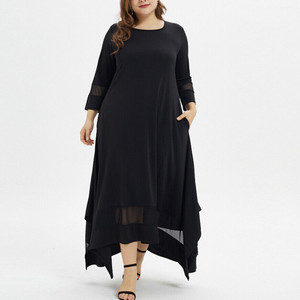 Long Dress Women Plus Size Solid Loose Maxi Dresses O-Neck Long Sleeve Mesh Spring Autumn Long Maxi Dress Robe Longue Femme 2020