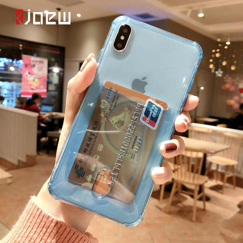 Transparent Airbag Card Holder Phone Case ID Credit Card Slot Soft Clear Cover for iPhone 11 Pro XS Max 6 6S 7 8 Plus X XR Case