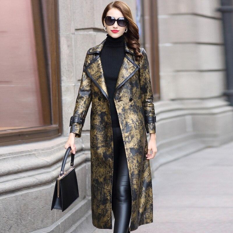 Genuine Leather Long Jacket Spring Autumn Jacket Women Real Sheepskin Slim Coat Korean Vintage Trench Coat HQ18-YXG18088A YY335