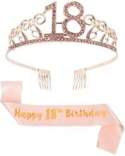 Юбилей на день рождения 16/18/20/30/40th серебристый Стразы тиара, корона, головная повязка с короной «С Днем Рождения» Birthday Crown для Для женщин
