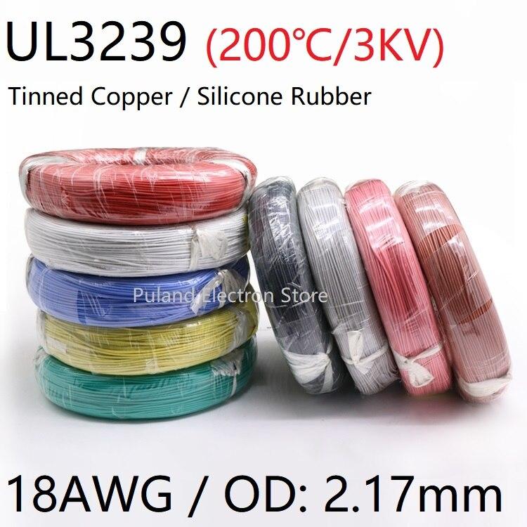 Cable de goma de silicona 18AWG UL3239 OD 2,1mm, Cable Flexible aislado de luz de electrones, cobre estañado, Color de alta temperatura, 3kV Señal de luz de neón Transformador electrónico fuente de alimentación HB-C02TE 3KV 30mA 5-25W ajuste para cualquier tamaño de vidrio señal de luz de neón Mayitr