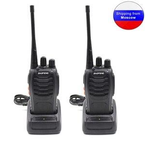 Image 1 - Rádio comunicador, 2 peças baofeng BF 888S 5w 1500mah ham radio uhf 400 470mhz 16ch bidirecional bf888s walkie talkie de mão