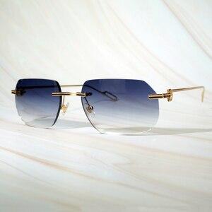 Vintage Sunglasses New Arrival Clear Eyewear Prescription Carter Glasses Unique Luxury Gafas De Rimless Sun Glasses Men Women(China)