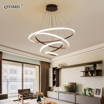 White/Coffee LED Pendant lights for living room foyer  Circle Rings acrylic aluminum body LED home Lamp fixtures AC85-260V dero