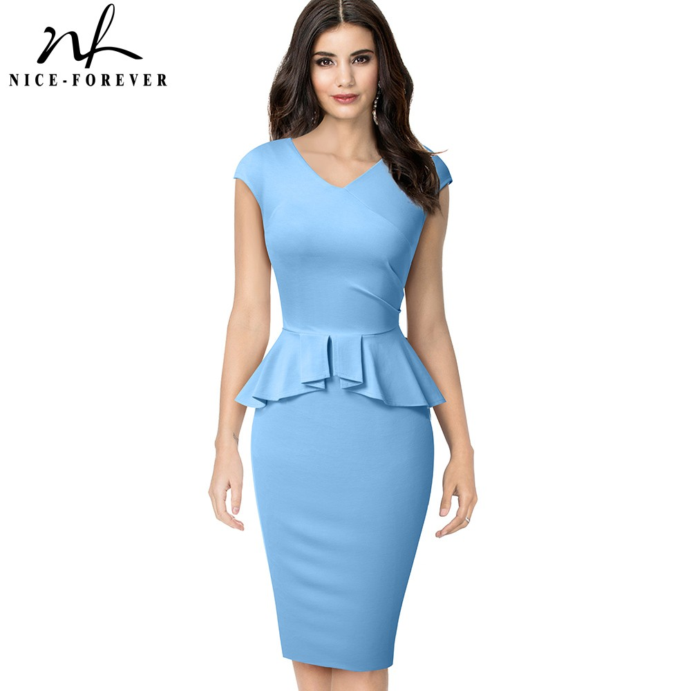 Nice-forever Elegant Solid Color Office Work Vestidos Business Formal Party Women Peplum Bodycon Dress B580